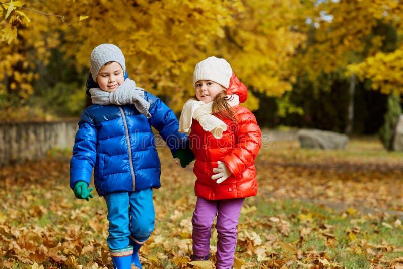 Bambini nel parco giallo di autunno Ragazzini e una condizione della ragazza fotografia stock libera da diritti