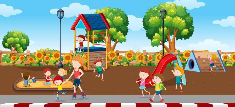 Bambini nella scena del plaground illustrazione vettoriale