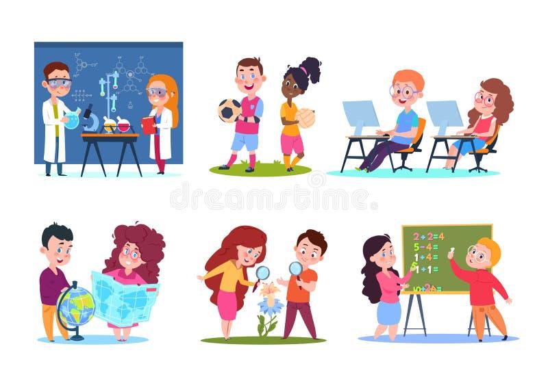 Bambini nelle lezioni Scolari che imparano geografia e chimica, biologia e per la matematica Caratteri di vettore del fumetto mes illustrazione di stock