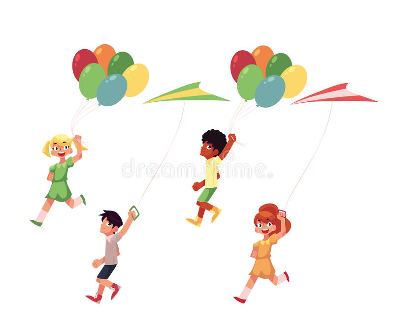 Bambini, ragazzi e ragazze, correre con gli aquiloni variopinti, palloni illustrazione vettoriale