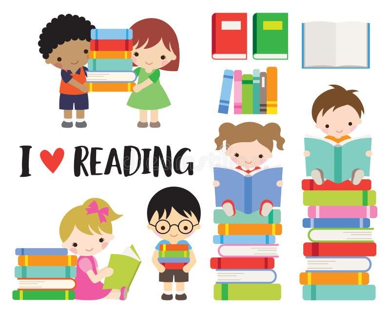 Bambini ragazzo della scuola e libri di lettura della ragazza illustrazione vettoriale