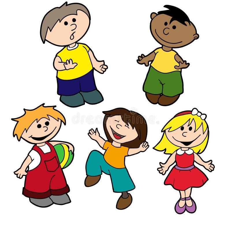 Bambini razziali di vettore multi ed etnici stabiliti illustrazione vettoriale