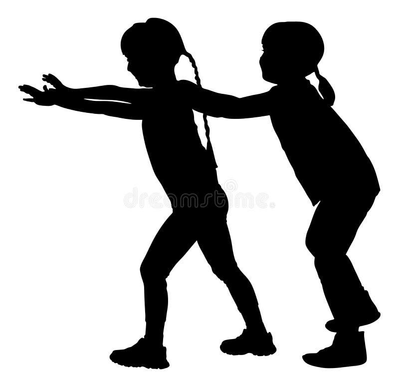Bambini, siluetta del gioco del treno del gioco delle ragazze illustrazione vettoriale