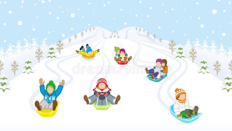 Bambini Sledding in montagna nevosa illustrazione vettoriale