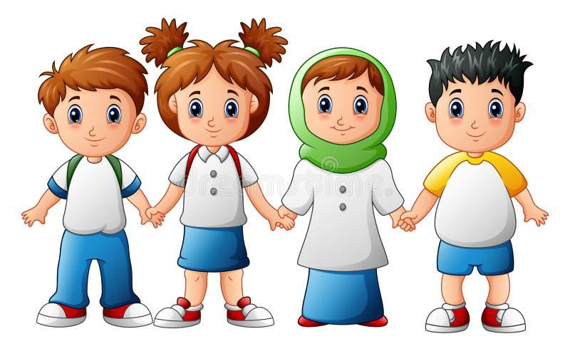 Bambini sorridenti che si tengono per mano insieme royalty illustrazione gratis