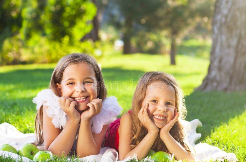 Bambini sorridenti felici che giocano sul picnic della famiglia immagine stock libera da diritti