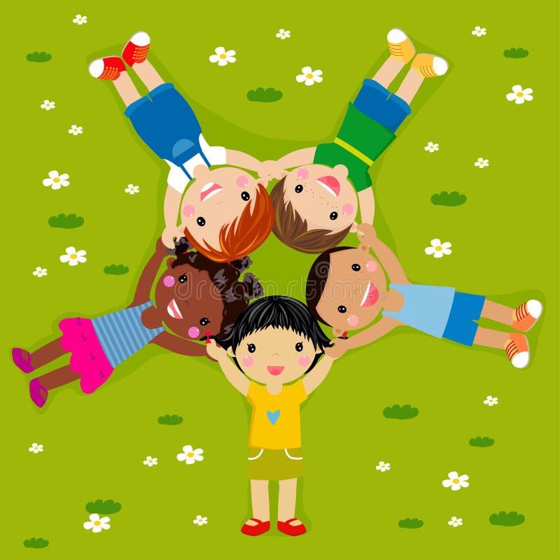 Bambini su erba illustrazione vettoriale