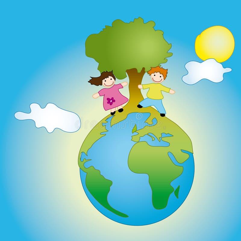 Bambini su terra illustrazione di stock