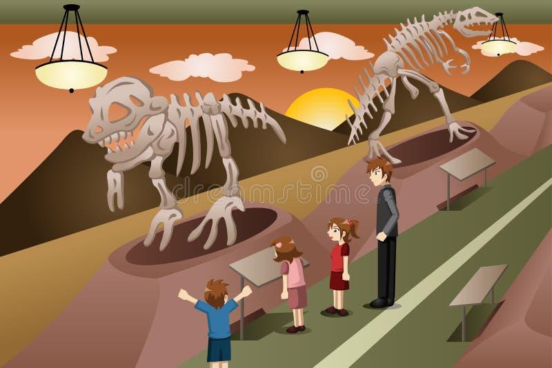 Bambini su un'escursione ad un museo illustrazione vettoriale