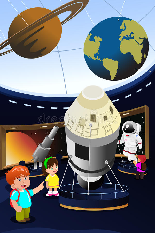 Bambini su un'escursione ad un planetario royalty illustrazione gratis