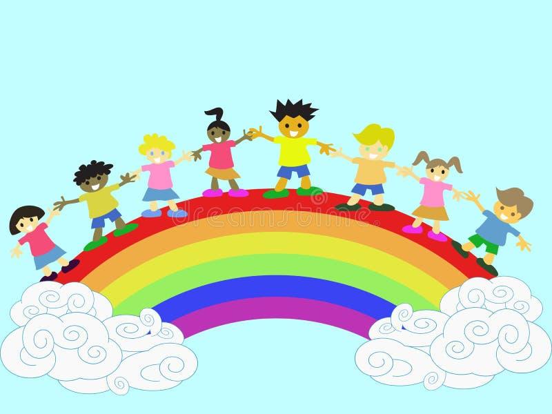 Bambini sul Rainbow illustrazione vettoriale