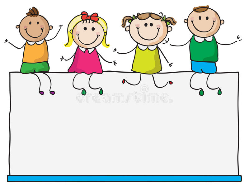Bambini sul segno in bianco royalty illustrazione gratis
