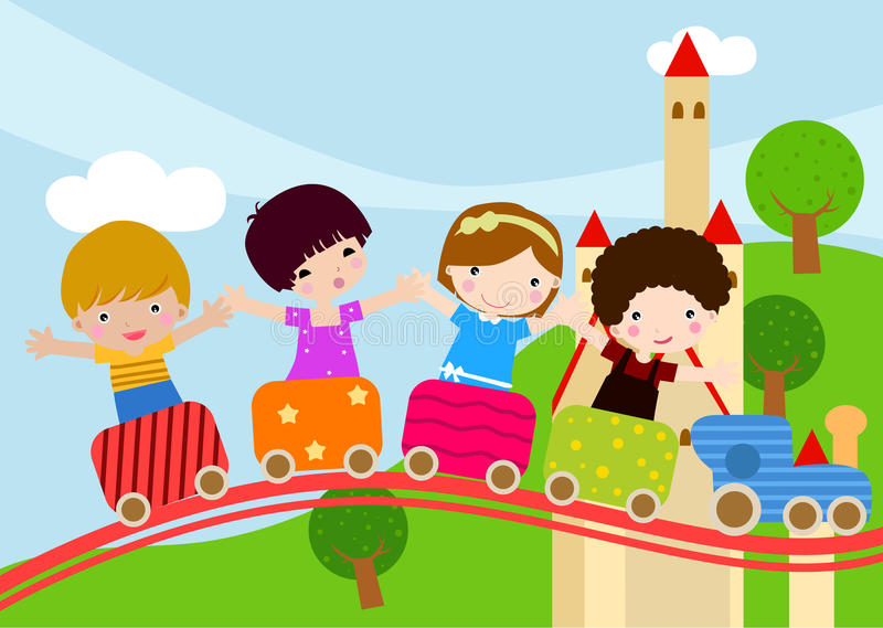 Bambini Sul Treno Fotografie Stock Libere da Diritti