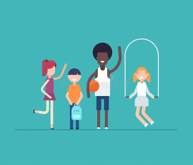 Bambini sulla lezione del PE - lo stile piano moderno di progettazione ha isolato l'illustrazione royalty illustrazione gratis