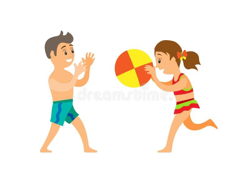 Bambini sulla palla di lancio della spiaggia, ragazzo e ragazza illustrazione vettoriale