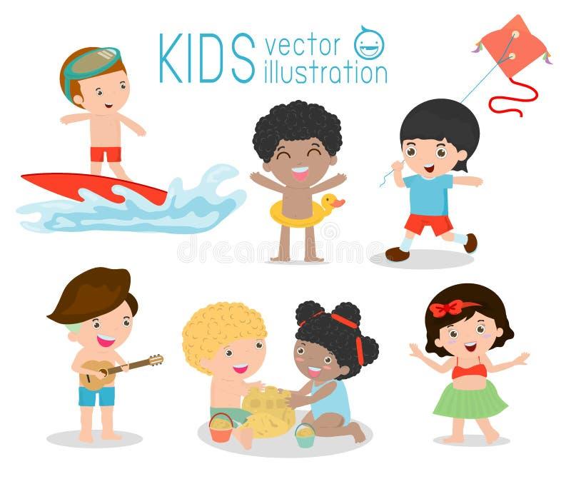 Bambini sulla spiaggia, bambini che giocano sulla spiaggia, children& x27; attività di estate di s royalty illustrazione gratis