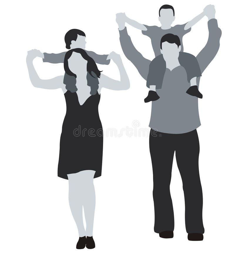 Bambini sulle spalle illustrazione di stock