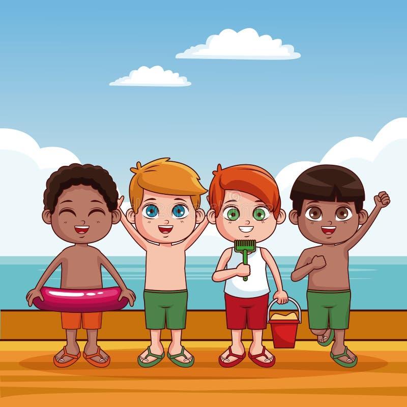 Bambini svegli al fumetto della spiaggia illustrazione di stock