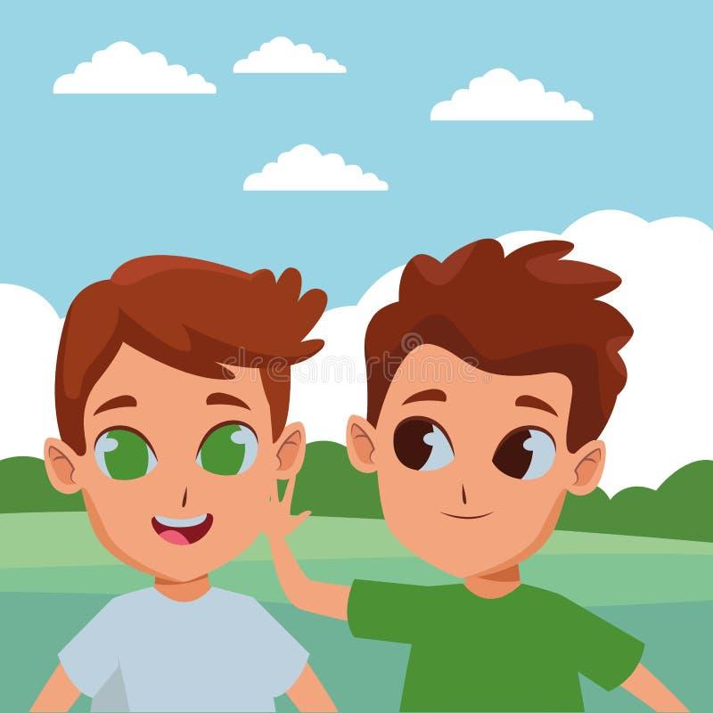 Bambini svegli che giocano nel fumetto del parco royalty illustrazione gratis