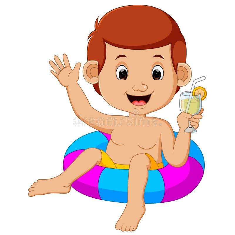 Bambini svegli che nuotano con il cerchio gonfiabile illustrazione di stock