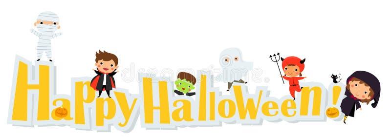 Bambini svegli che portano il costume del mostro di Halloween illustrazione di stock