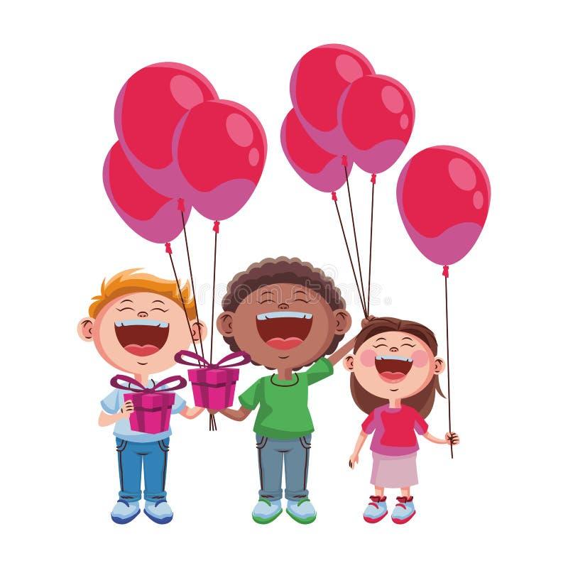 Bambini svegli con i palloni royalty illustrazione gratis