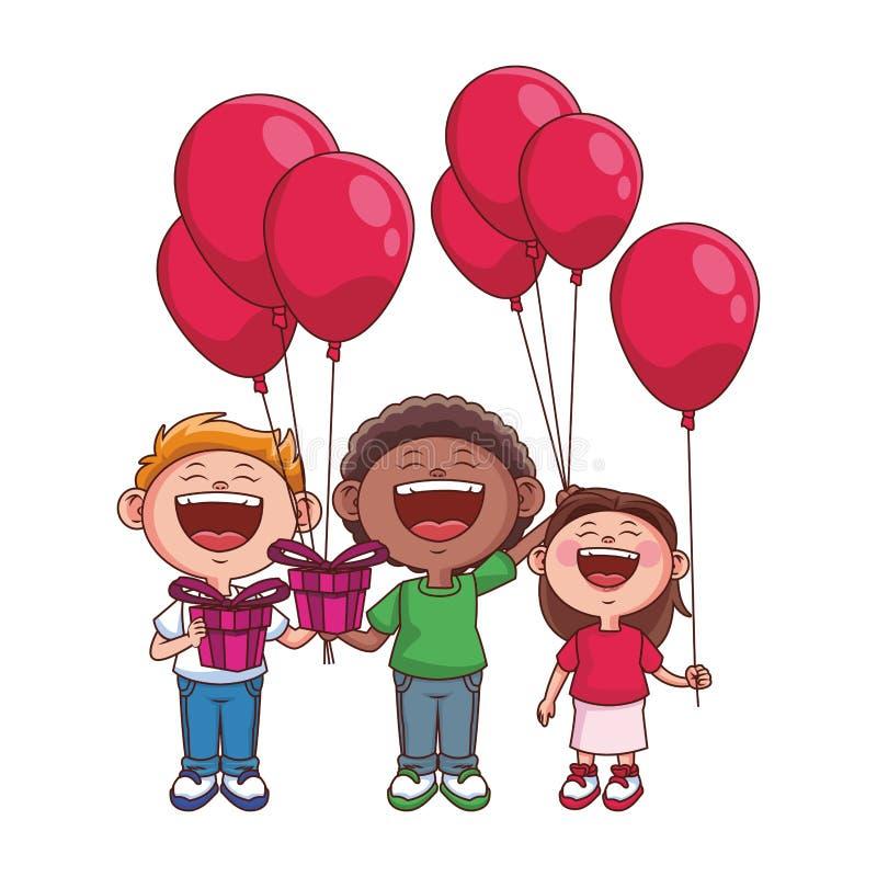 Bambini svegli con i palloni illustrazione vettoriale