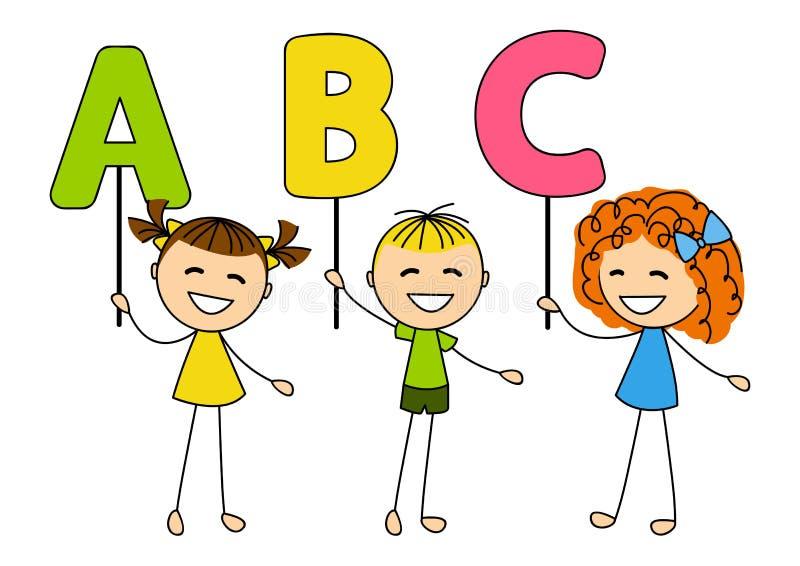 Bambini svegli con le lettere di ABC illustrazione vettoriale