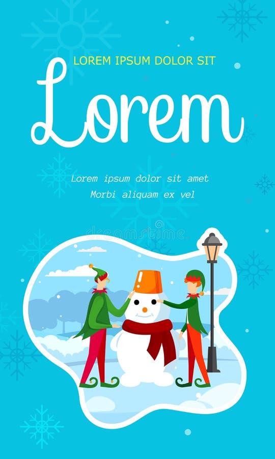 Bambini svegli in costumi degli elfi che fanno pupazzo di neve illustrazione di stock