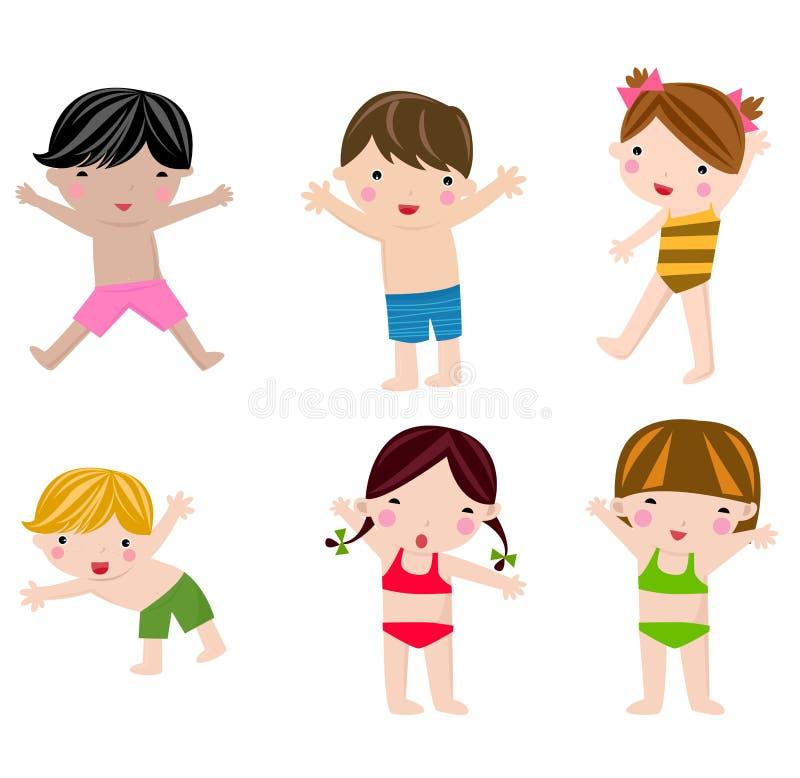 Bambini svegli di estate nell'insieme del costume da bagno royalty illustrazione gratis