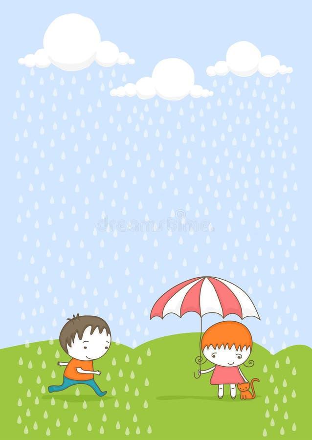Bambini svegli nella pioggia illustrazione vettoriale