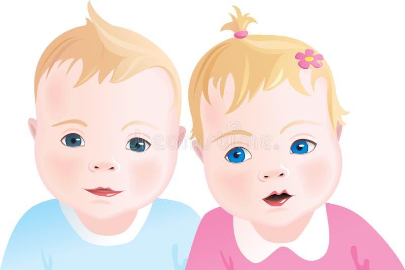Bambini svegli - ragazzo e ragazza illustrazione vettoriale