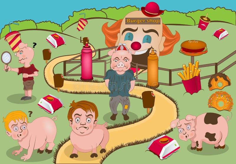 Bambini a trasformazione dei maiali illustrazione vettoriale