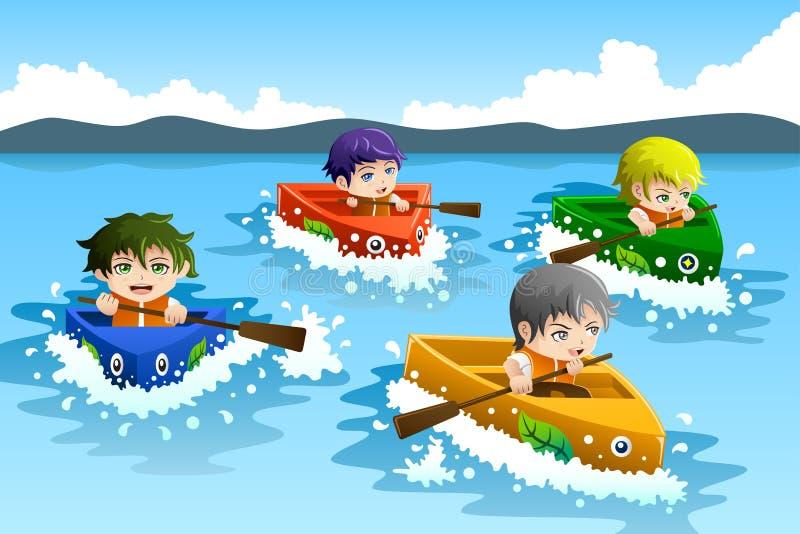 Bambini in una corsa di barca