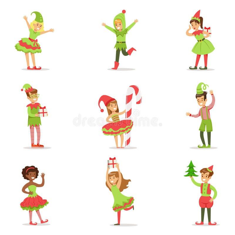 Bambini vestiti come partito di carnevale di festa del costume di Santa Claus Christmas Elves For The royalty illustrazione gratis