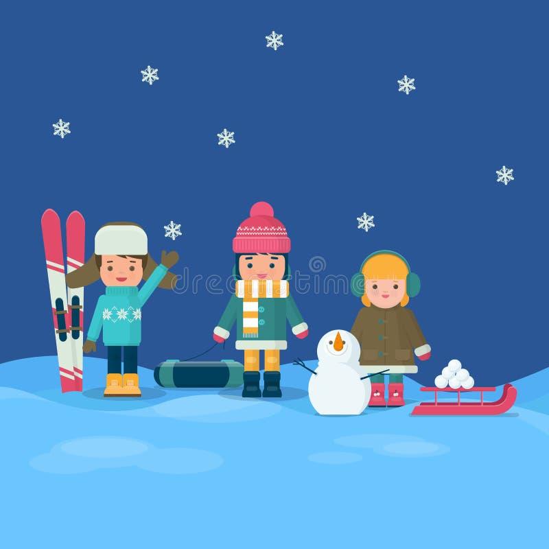 Bambini in vestiti variopinti che giocano all'inverno all'aperto royalty illustrazione gratis