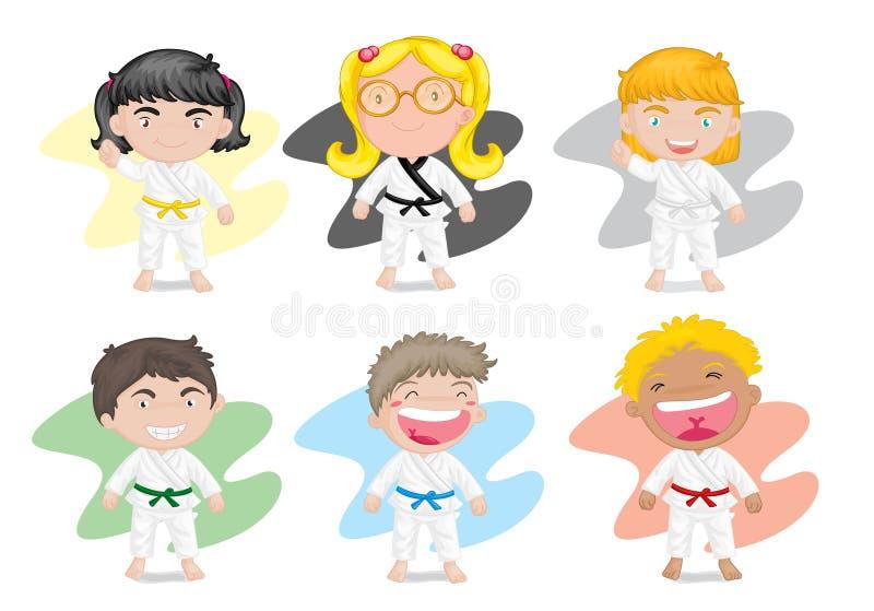 Bambini in vestito da karatè illustrazione di stock