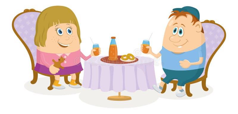 Bambini vicino alla tavola, isolata royalty illustrazione gratis