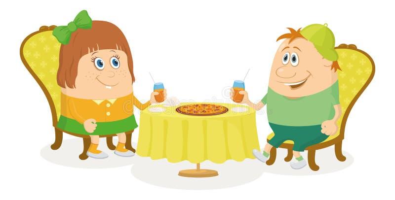 Bambini vicino alla tavola, isolata illustrazione di stock