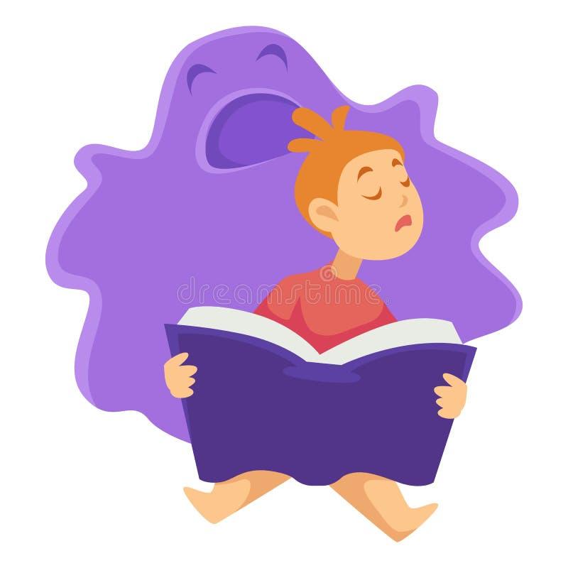 Bambino addormentato con il libro ed il carattere isolato mostro immaginario illustrazione vettoriale