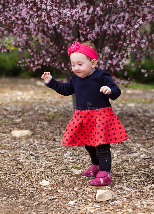 Bambino adorabile che cammina con attenzione fotografia stock