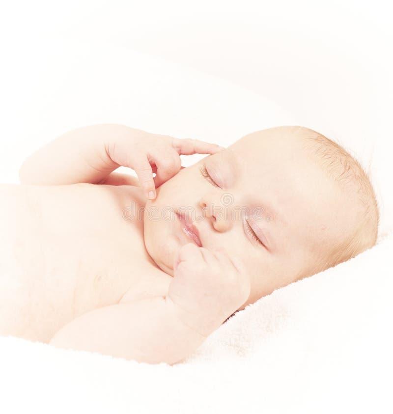 Bambino appena nato sveglio fotografia stock