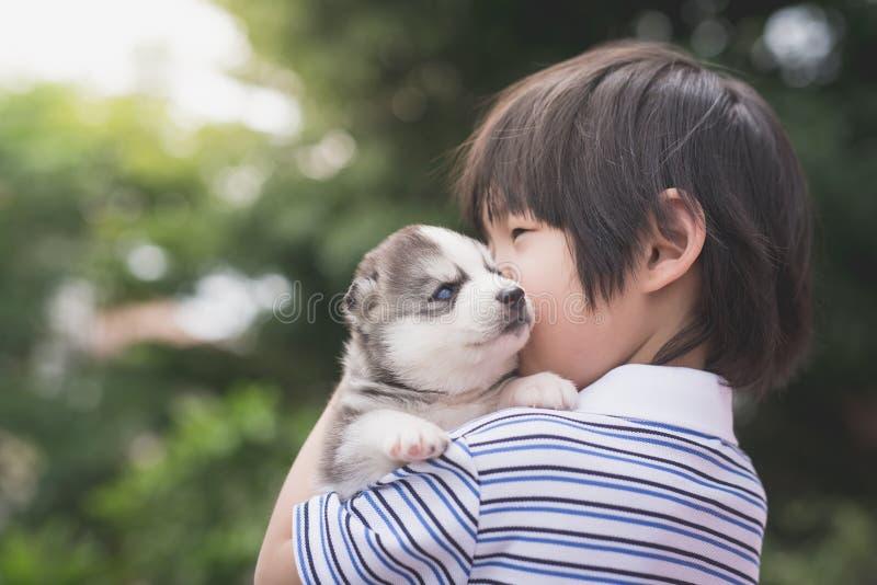 Bambino asiaan sveglio che tiene husky siberiano fotografia stock libera da diritti