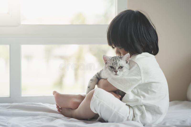Bambino asiatico che gioca con il gattino di Shorthair dell'americano immagini stock