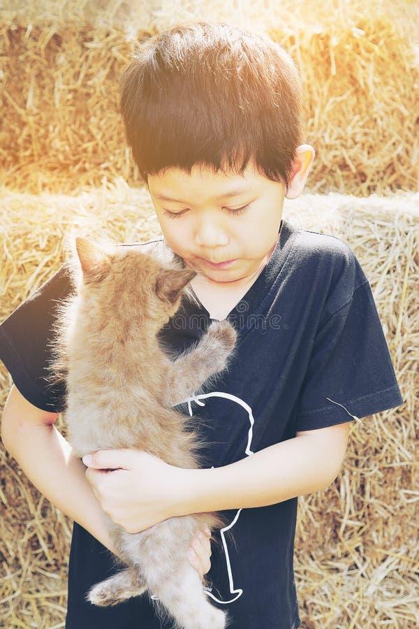 Bambino asiatico che gioca gattino marrone impertinente fotografia stock