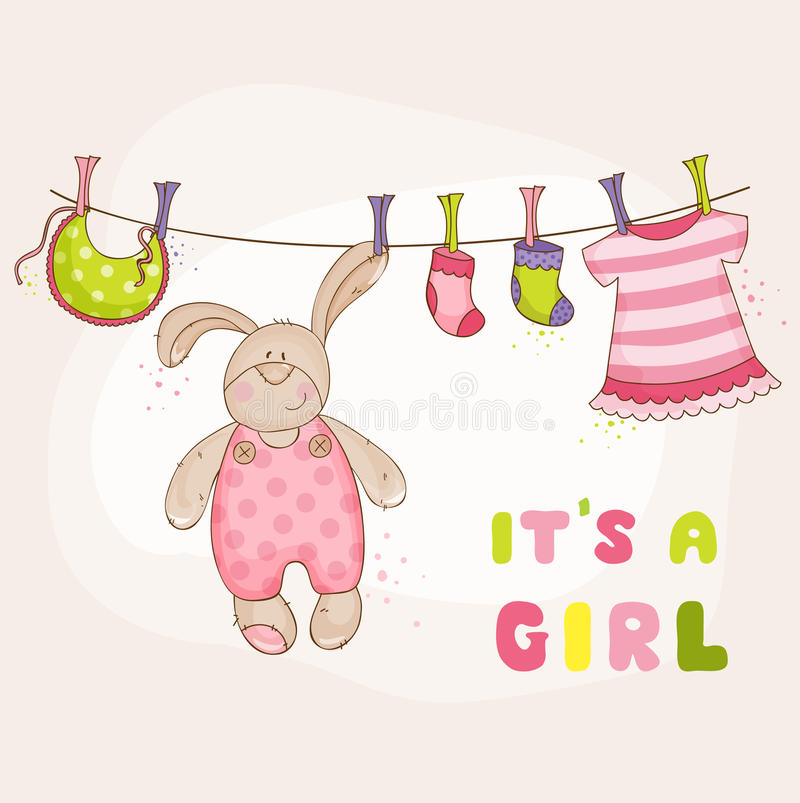 Bambino Bunny Shower Card royalty illustrazione gratis