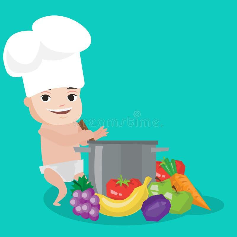 Bambino in cappello del cuoco unico che cucina pasto sano royalty illustrazione gratis