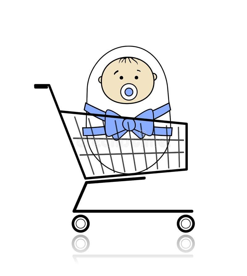 Bambino in cestino royalty illustrazione gratis