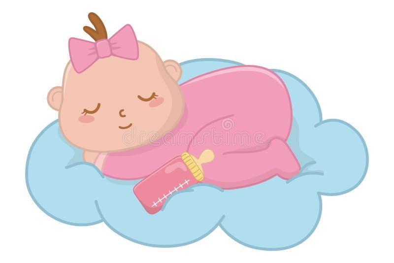 Bambino che dorme su una nube illustrazione vettoriale