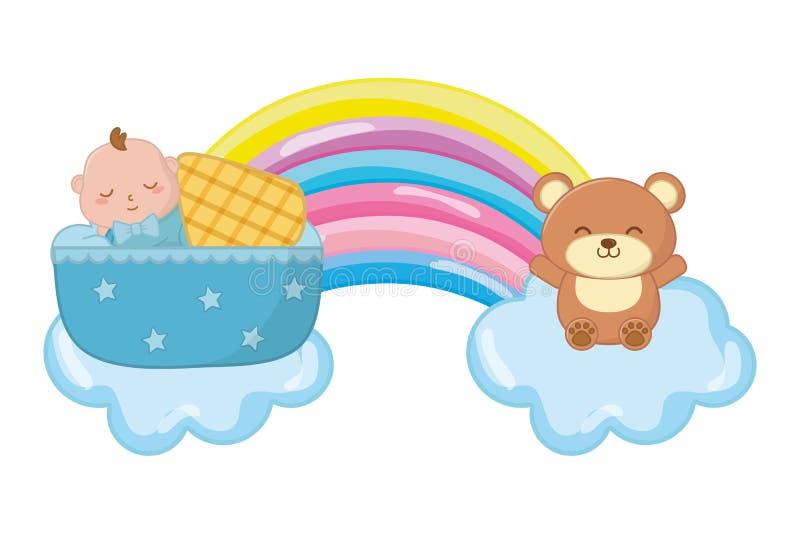 Bambino che dorme in una culla ed in un orso del giocattolo illustrazione di stock